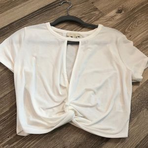 White T-shirt with cut out in middle